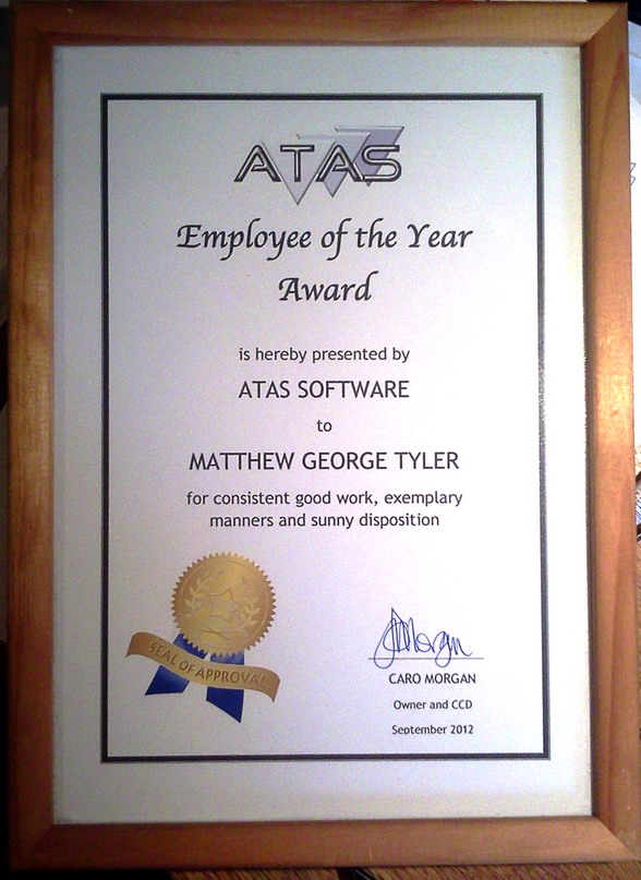 Matt - employee of the year